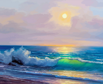 Modern Seascape Paint By Numbers Kit