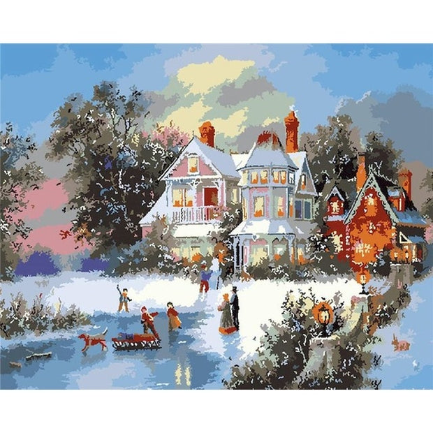 Kids Christmas Snow Day Paint by Numbers