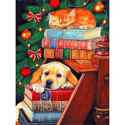 Christmas Dog And Cat On Books Paint By Numbers