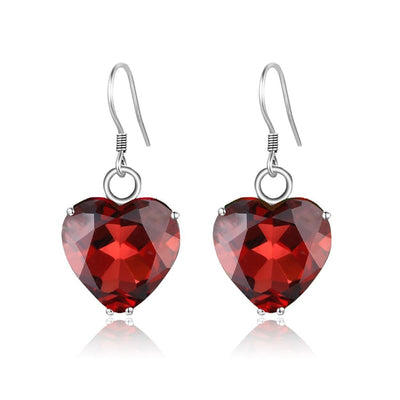 925 Sterling Silver Red Garnet Heart Drop Gemstone Earrings