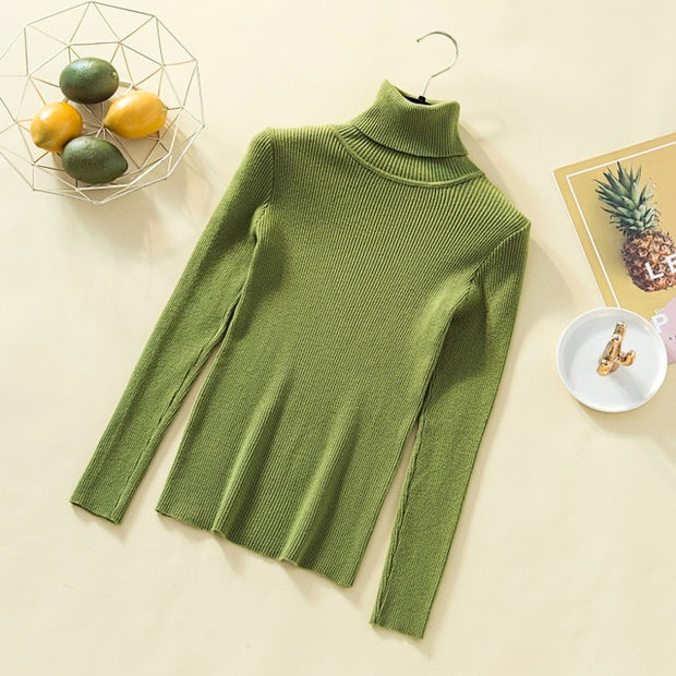 Women's Knitted Long Sleeve Pullover Turtleneck Sweater