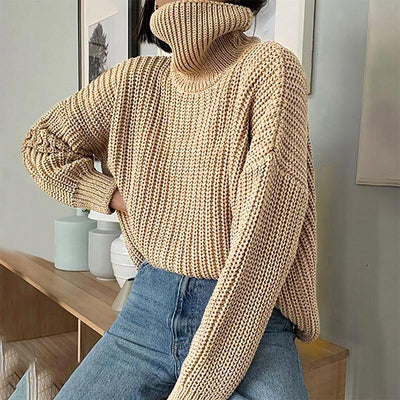 Women's Knitted Long Sleeve Oversize Pullover Turtleneck Sweater