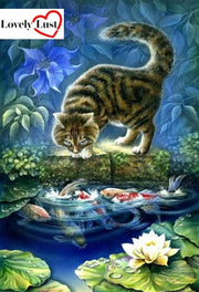 Cat watching Fish Diamond Painting