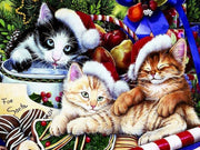 Cats In Christmas Hats Paint by Numbers