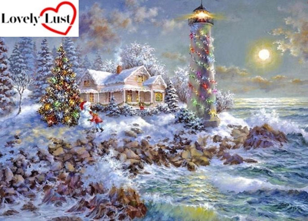 Christmas Lighthouse Diamond Painting