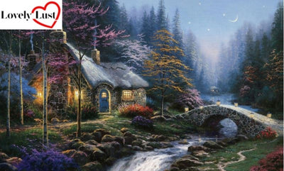 Cottage at Night Diamond Painting