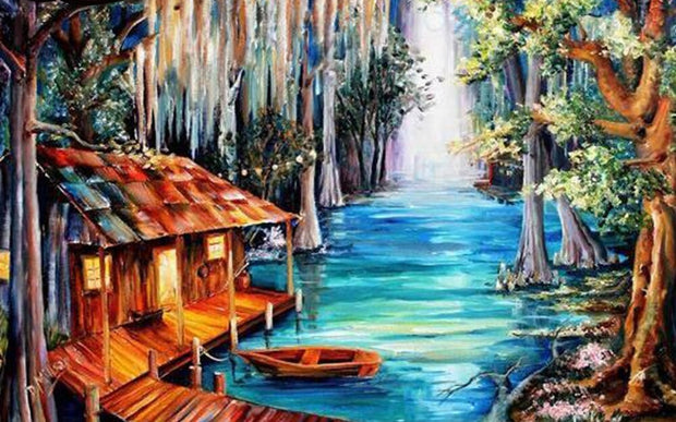 Cottage on River 5D Diamond Painting Kit