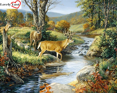 Forest with Deer 5D Square Diamond Painting Kit