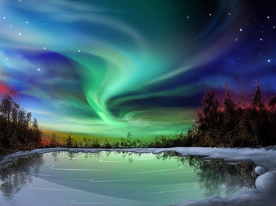 Green Aurora Landscape Paint by Numbers