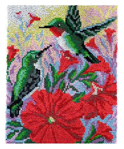 Hummingbirds Rug Latch Hooking Kit (58x85cm)