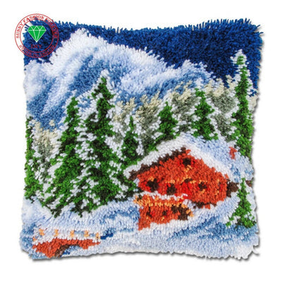 Christmas Landscape Snow Latch Hook Pillow Kit