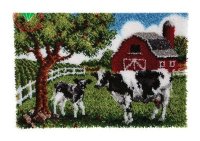 Farm with Cows Latch Hook Rug Kit