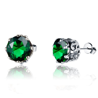Silver Birthstone Stud Earrings
