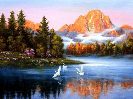 Lake with Mountains Paint by Numbers Kit