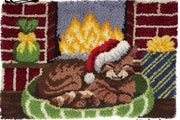 Rug Hooking Kit Cat with Santa Hat