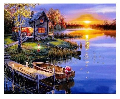 Cottage at Sunset Paint by Numbers Kit
