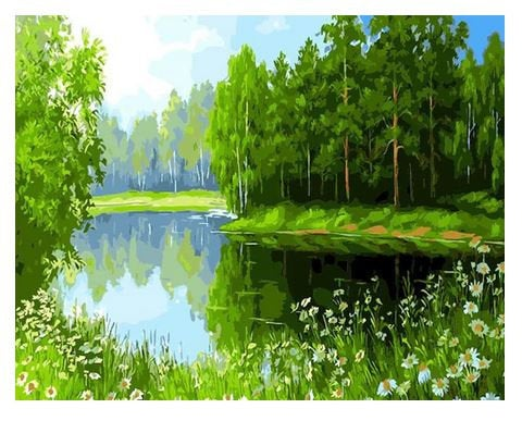 River in Forest Paint by Numbers Kit