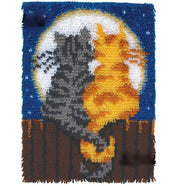 Latch Hook Rug Kit - 2 Cats on Fence