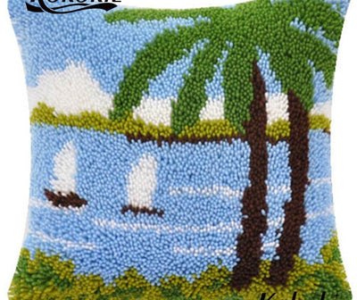 Latch Hooking Pillow Kit - Palm Trees