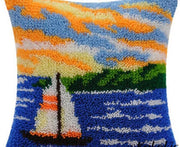 Latch Hooking Pillow Kit - Sailboat