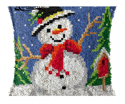 Latch Hooking Pillow Kit - Snowman
