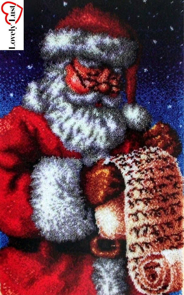 Santa Christmas List Rug Latch Hooking Kit