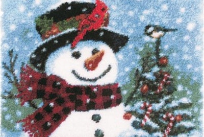 Snowman with Birds Rug Latch Hooking Kit (52x38cm)
