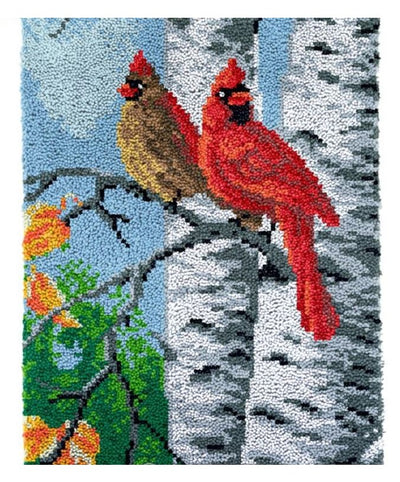 Two Cardinals Rug Latch Hooking (58x85cm)