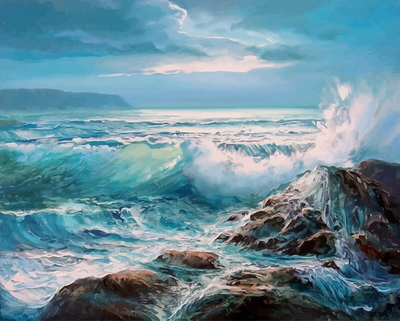 Waves against Rocks Paint by Numbers Kit