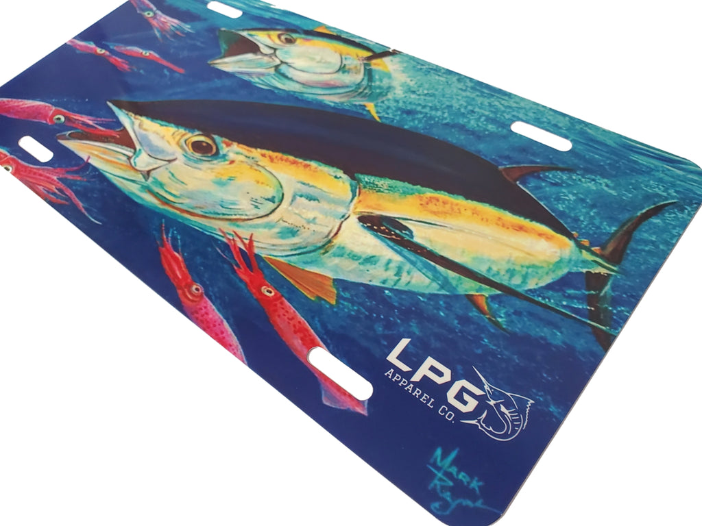 LPG Apparel Co. Mark Ray Yellowfin Tuna Novelty Metal Fishing  License Plate - Lobo Performance Gear