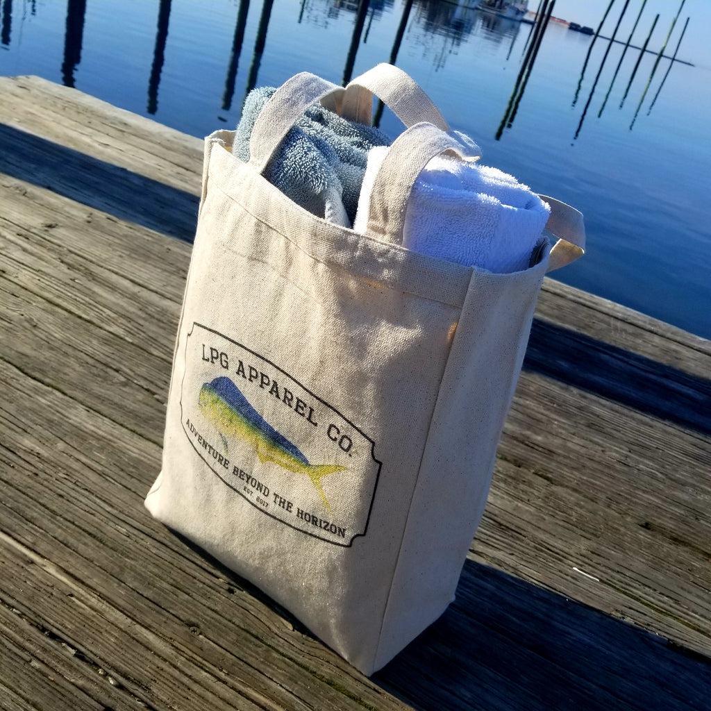 LPG Apparel Co. Vintage Mahi Surf. Fish. Dive. Canvas Beach Tote - Lobo Performance Gear