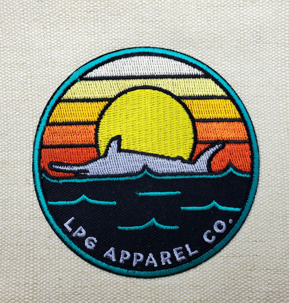 "LPG Apparel Co. Retro Marlin Round Logo 3.25"" Embroidered Iron-on Patch"