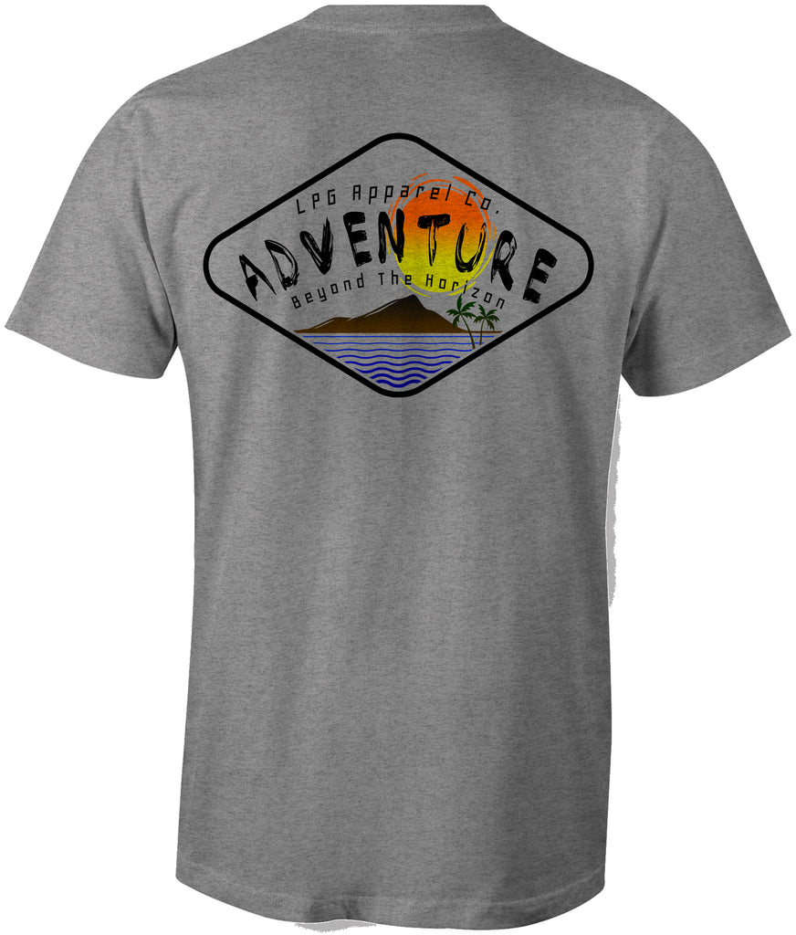 LPG Apparel Co. Adventure Diamond Surf T-Shirt - Lobo Performance Gear Surfing Tee, Surfing T-Shirt, Fishing Tee, Fishing T-Shirt in heather grey