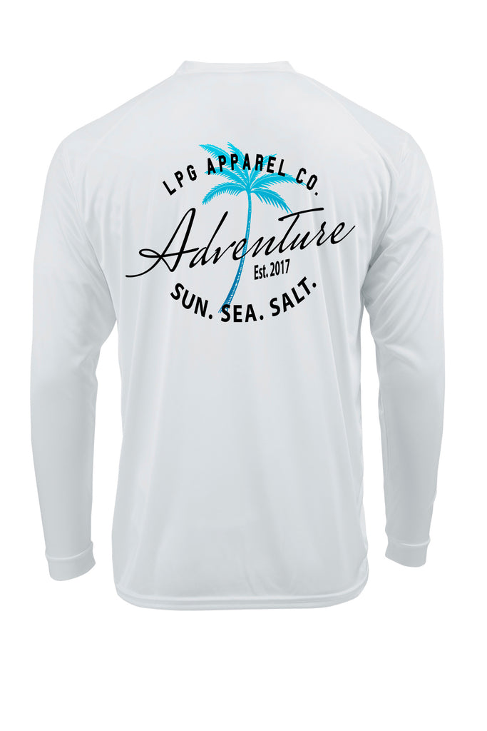 LPG Apparel Co. Adventure Palm Tree Surf Rash Guard LS Performance UPF 50 Unisex T-Shirt - Lobo Performance Gear