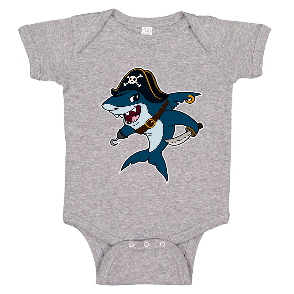 LPG Apparel Co. Cartoon Pirate Shark Baby One-Piece  Bodysuit - Lobo Performance Gear