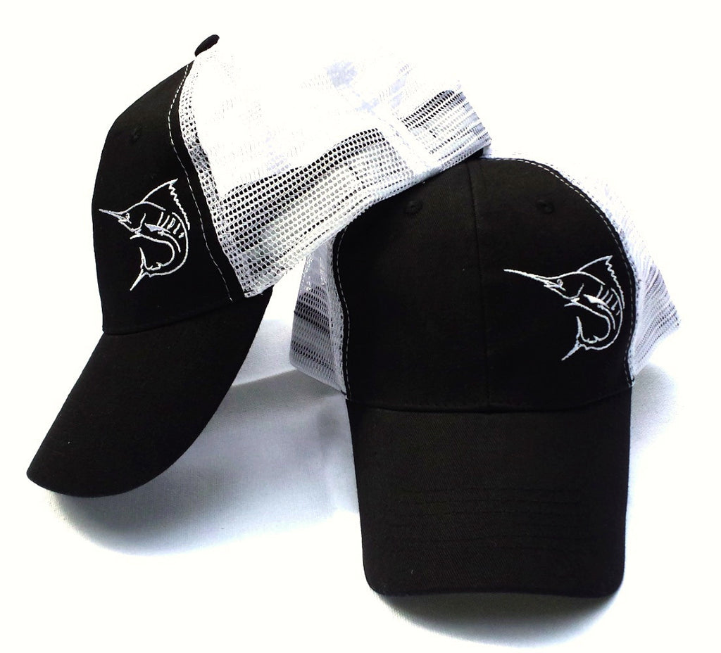 Marlin Skeleton Trucker Hat by Lobo Marine Black - Lobo Performance Gear