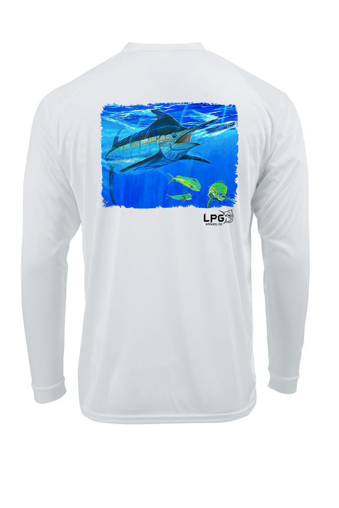 LPG Apparel Co. Mark Ray Bill Buster Performance UPF 50+ Rashguard T-Shirt, Lobo Lures T-Shirt, Fishing t-shirt