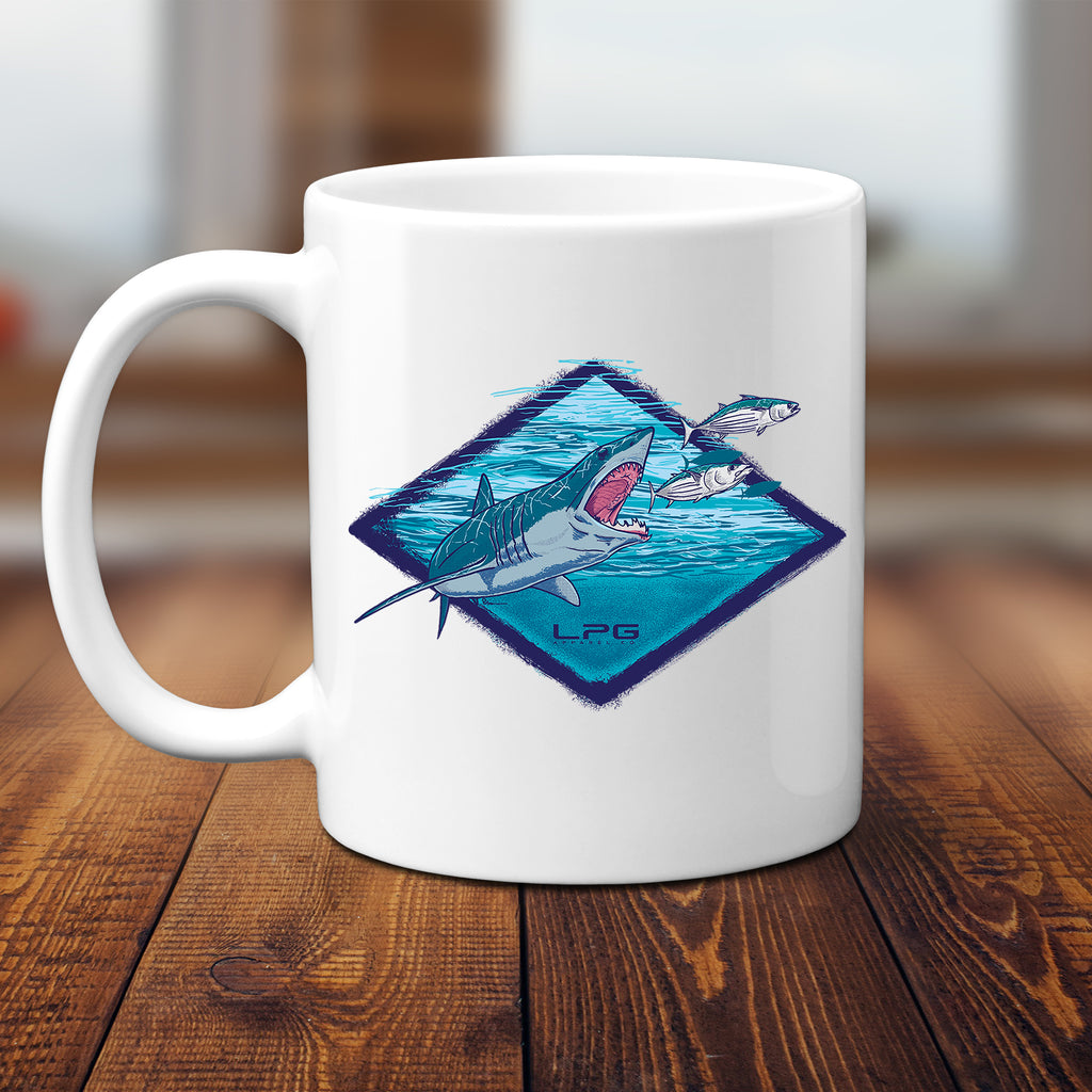 LPG Apparel Co. Northeast Mako Shark Sportfishing Mug Coffee Mug, Fishermen Gift, Black Friday, Gift Idea, Fishermen Gift idea, Fishermen Gifts, Sherk Mug, Shark Week, Sharks, Mako Fishing