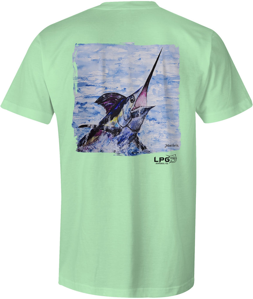 LPG Apparel Co. Surface Breaker Marlin Unisex Cotton Fishing Themed Short Sleeve T-Shirt - Lobo Performance Gear