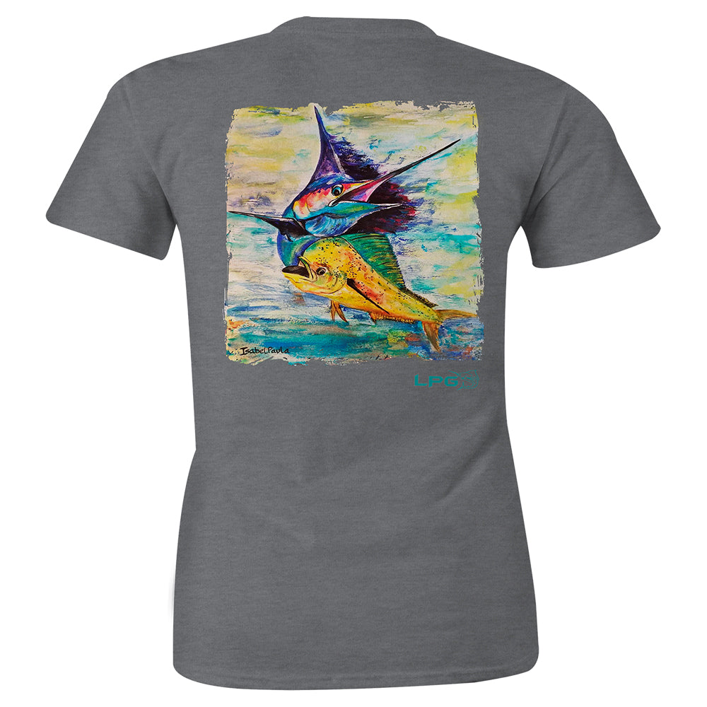 Sailing Mahi Billfish Women's Fitted T-shirt - Lobo Performance Gear