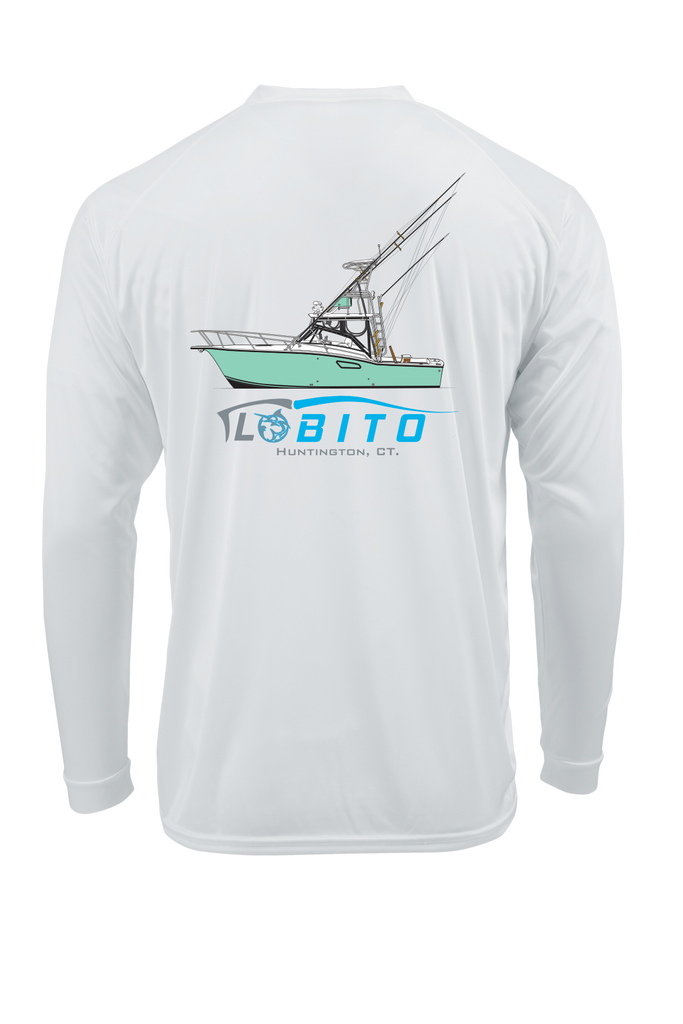 LPG Apparel Co. Lobo Lures Lobito Sportfish Tournament Line art Boat T-shirt