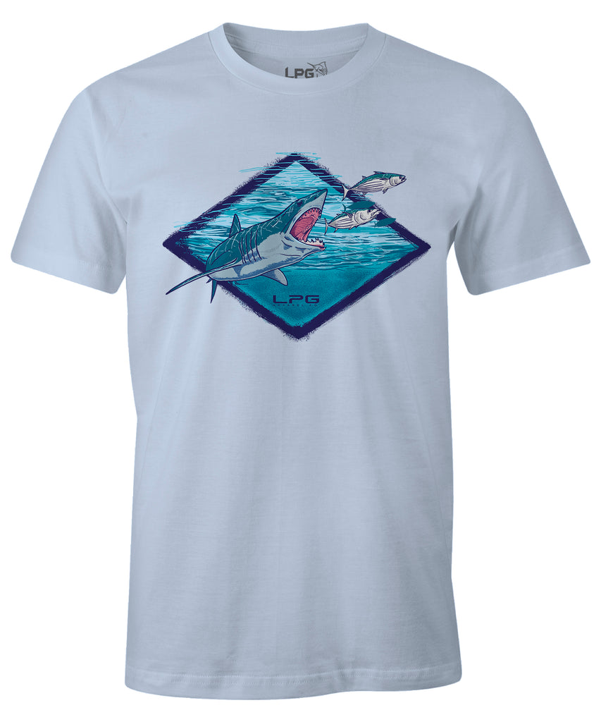 LPG Apparel Co. Mako Signature Comfort T-Shirt, Fishing Tee, Mako Fishing Tee, Mako Fishing T-Shirt in Ocean Mist Blue-Shark Fishing, fishing apparel
