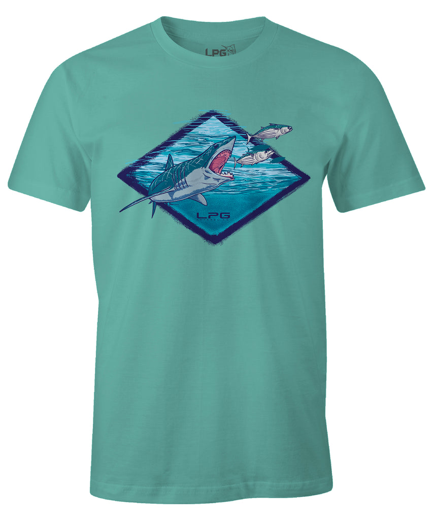 LPG Apparel Co. Mako Signature Comfort T-Shirt, Fishing Tee, Mako Fishing Tee, Mako Fishing T-Shirt in Marsh-Shark Fishing, fishing apparel