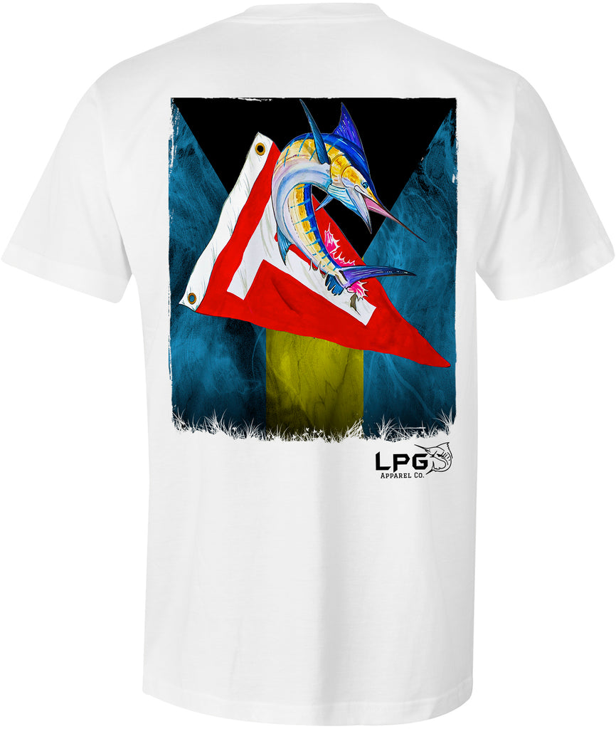 LPG Apparel Co. Bahama Flag Tag & Release Grunge Marlin Pocket T-Shirt - Lobo Performance Gear