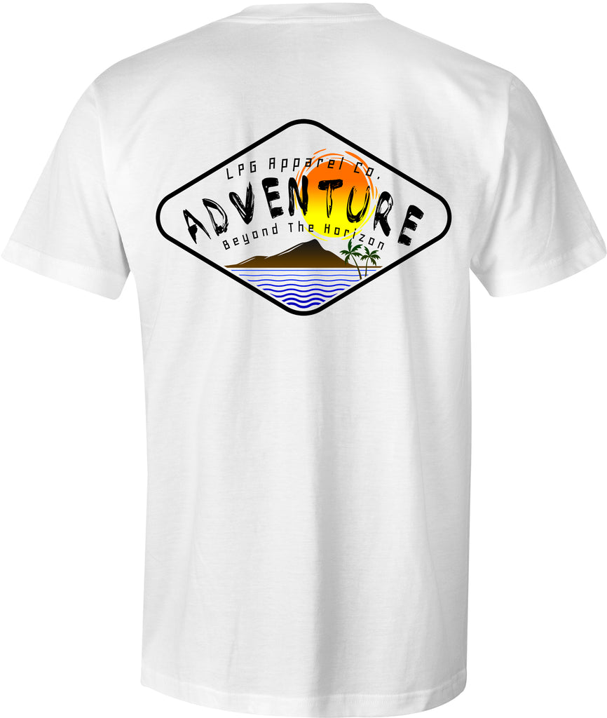LPG Apparel Co. Adventure Diamond Surf T-Shirt - Lobo Performance Gear Surfing Tee, Surfing T-Shirt, Fishing Tee, Fishing T-Shirt in  white