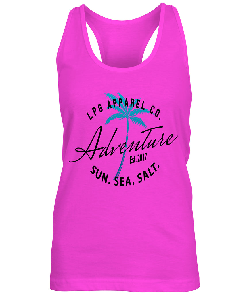 LPG Apparel Co. Adventure Palms Sun. Sea. Salt. Surf Women's Flowy Tank Top - Lobo Performance Gear