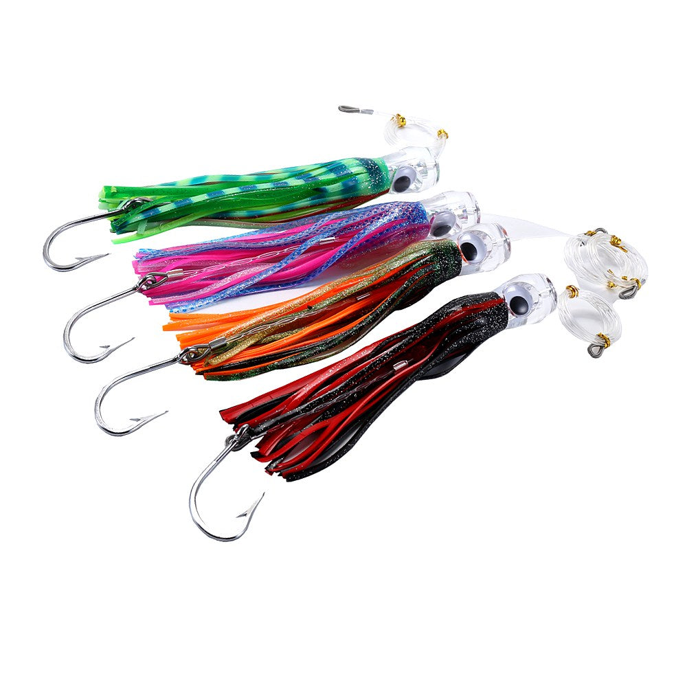 Fin-Tastic Lures Set of 4 Chugger Trolling Tuna Lures 9 Inch Fishing Rigged - Lobo Performance Gear