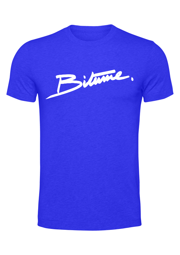 T Shirt 100 % Bitume SIGNATURE BIG Bleu personnalisable.