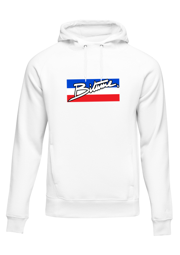 Sweat Shirt 100 % Bitume HilfiNouch' blanc personnalisable.