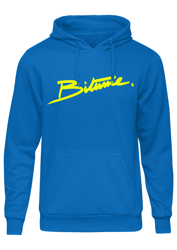 Sweat Shirt 100 % Bitume SIGNATURE BIG bleu & jaune fluo personnalisable.